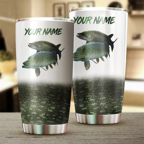 Northern Pike Fishing Customize name Tumbler Cup Personalized Fishing gift for fisherman - IPH1074