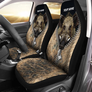 Boar Hunting Custom 3D Printed Seat Covers , perfect car accessories - personalized hunting gift for fishing lovers Set of 2 - IPH1607
