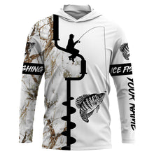Load image into Gallery viewer, Ice fishing Crappie winter snow camo UV protection quick dry customize name long sleeves shirts personalized fishing clothing gift for adults and kids - IPH2078