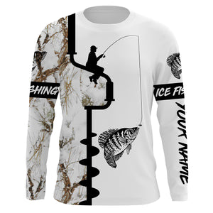 Ice fishing Crappie winter snow camo UV protection quick dry customize name long sleeves shirts personalized fishing clothing gift for adults and kids - IPH2078