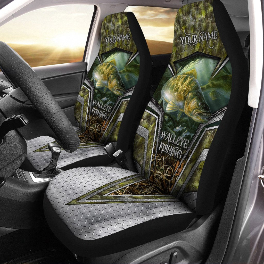 Walleye Fishing Camo Custom 3D Printed Seat Covers, perfect car accessories - personalized fishing gift for fishing lovers Set of 2 - IPH1618