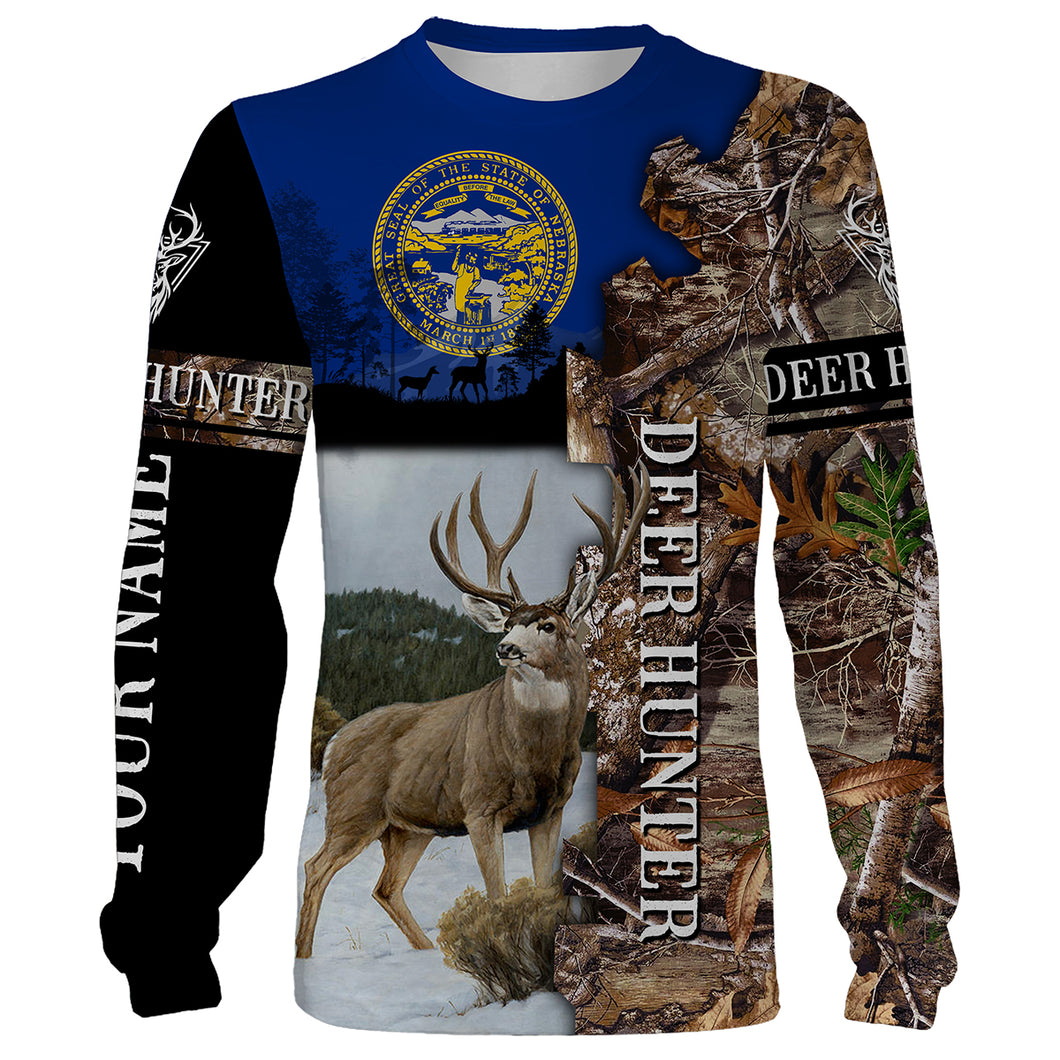 NEB Nebraska Mule Deer Hunting camo clothing Nebraska flag Deer hunter Customize name 3D All over print shirts - personalized Patriotic hunting apparel gift for men, women and kids - IPH2100