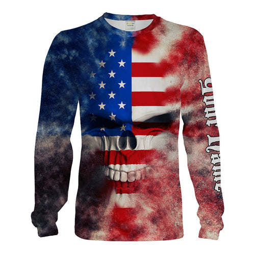 American Flag Skull Custom All over print shirt,  Personalized Patriotic Skull gifts - Chipteeamz IPHW779