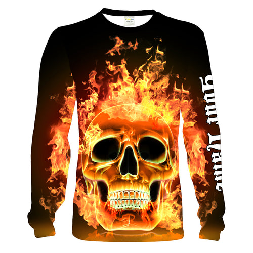 Custom Flaming Skull shirt, Personalized Skull gifts for men, women and kid - Chipteeamz IPHW781
