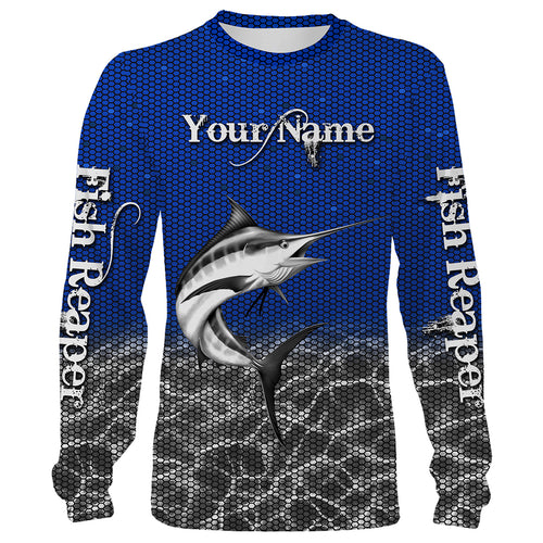 Blue Marlin Fishing Fish Reaper Customize name All over print shirts Personalized Fishing gift for men and women - IPH1432