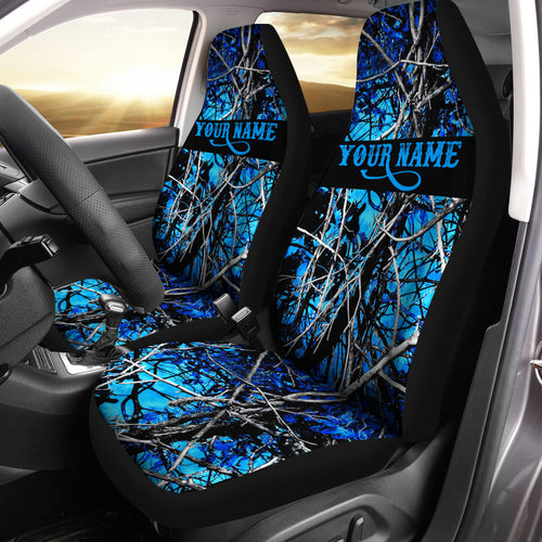 Teal Camo Blue muddy camo Customize 3D Printed Seat Covers, perfect car accessories - personalized gift for Hunting, fishing lovers Set of 2 - IPHW271