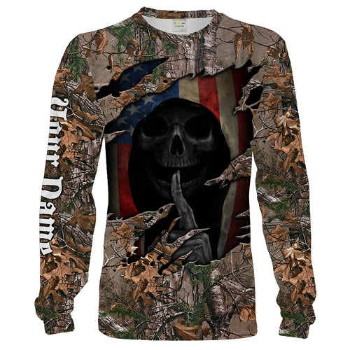 Custom Camo American Flag Skull All over print shirt for Hunters - Chipteeamz IPHW788