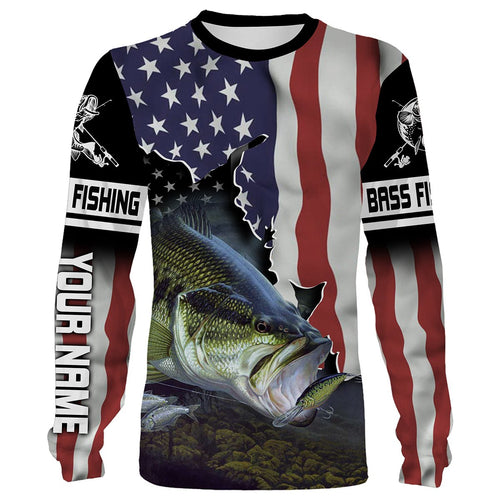 Bass Fishing 3D American Flag Patriot Customize name All over print shirts - personalized Patriotic 4th of July fishing shirt gift for men and women - IPH1144