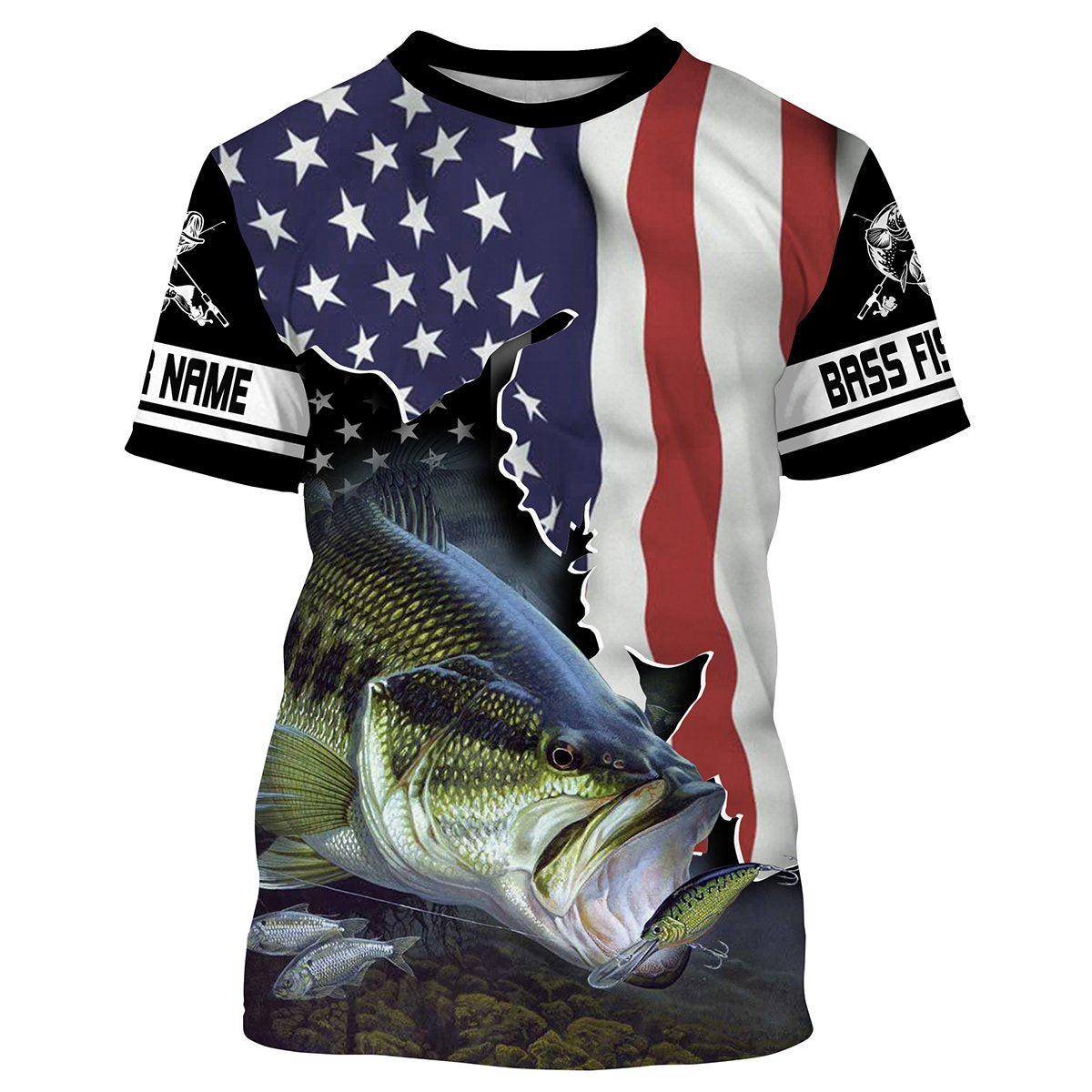 Download Bass Fishing 3D American Flag Patriot Customize name All ...