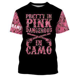 Pretty in Pink camo Custom shirt for Country girl - T shirt, Long sleeve, Sweatshirt, Tank Top, Zip up, Hoodie shirt styles to choose Hunting apparel for Hunting girl and women- IPH2145