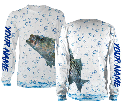 Striped Bass Fishing Wrap around bubbles Customize name All over print shirts - personalized funny fishing shirts for men, women and kid - IPH1156