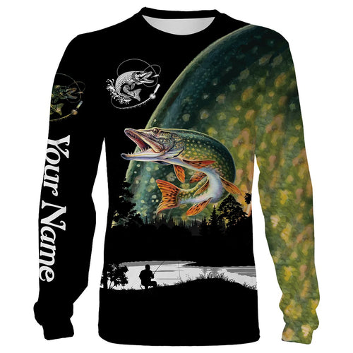 Northern Pike Fishing scale Customize name All over print shirts - personalized fishing gift for men and women - IPH1033