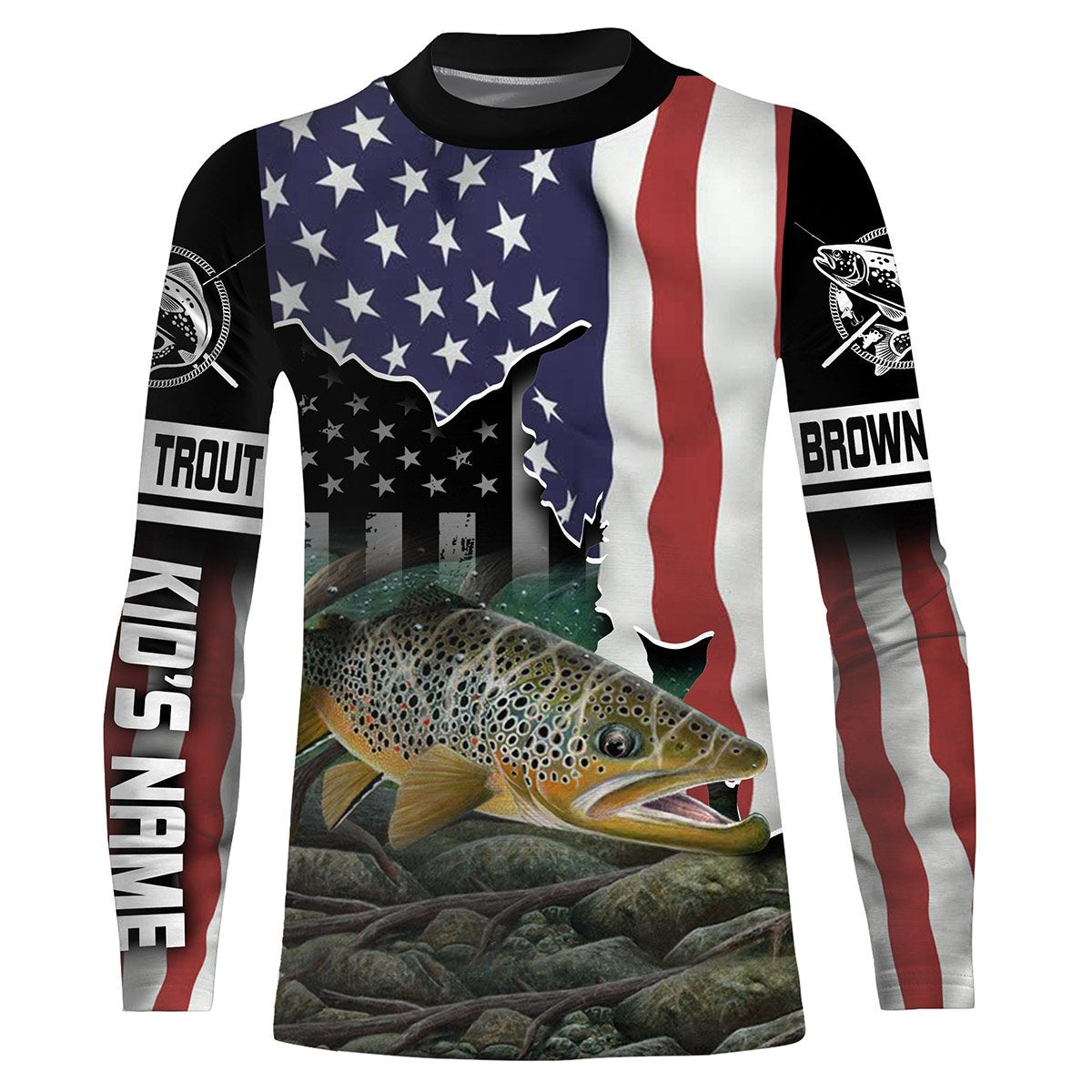 Download Brown Trout Fishing 3D American Flag Patriot Customize ...