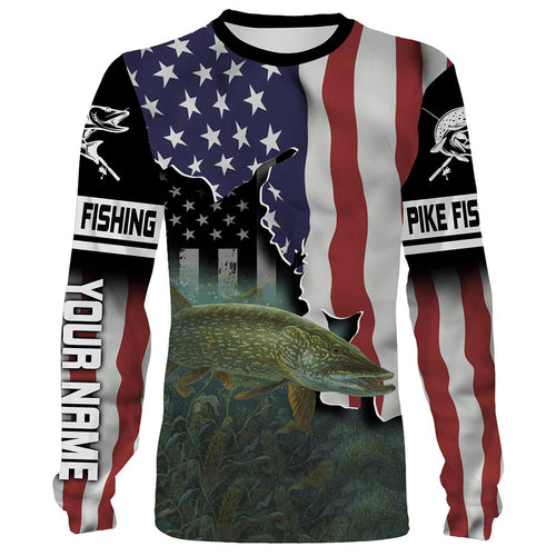 Northern Pike Fishing 3D American Flag Patriot Customize name All over print shirts - personalized Patriotic 4th of July fishing shirt gift for men, women and kid - IPH1172