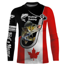 Load image into Gallery viewer, Walleye Fishing 3D Canada Flag Patriot Custom name All over print shirts - personalized fishing gift for men and women - IPH1489