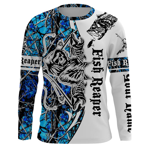 Fish Reaper teal Blue Muddy Camo Custom Long Sleeve Fishing Shirts UV Protection, Personalized Fishing Gifts Ideas - Chipteeamz IPHW676
