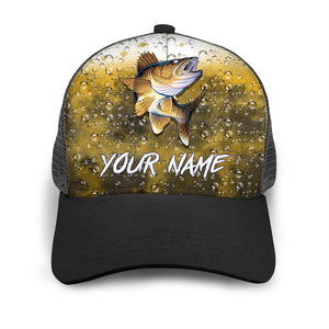 Walleye Custom Adjustable Mesh Unisex Fishing Baseball Trucker Angler hat cap - personalized Fishing gift for men and women - IPH1502