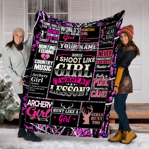 Custom Hunting girl quotes pink camouflage Throw Fleece Blanket - unique gift ideas for Huntress - IPH2242