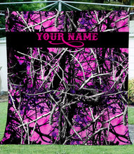 Load image into Gallery viewer, Muddy girl Pink camo Fleece Blanket Custom name - soft warm lightweight blanket gift ideas for Country girls - IPH2244