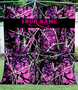 Muddy girl Pink camo Fleece Blanket Custom name - soft warm lightweight blanket gift ideas for Country girls - IPH2244