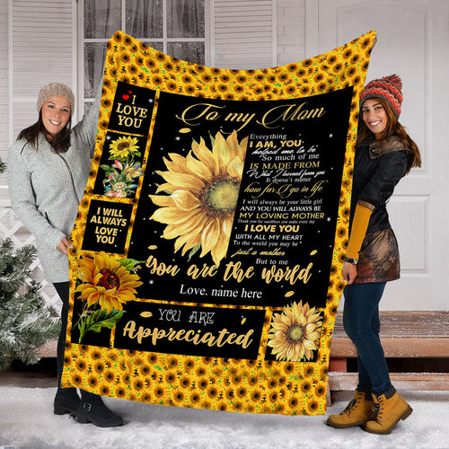 To my mom Custom Sunflower Fleece Blanket - personalized sentimental unique happy Mother's day, birthday, Christmas gift ideas for mom DRS - IPHZ29