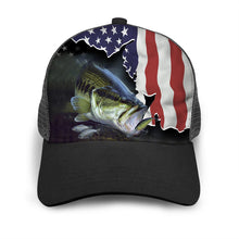 Load image into Gallery viewer, Largemouth Bass US American Flag Adjustable Mesh Unisex Fishing Baseball Trucker Angler hat cap - Fishing gift for men and women - IPH1509