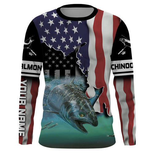Chinook Salmon (King Salmon) Fishing American flag personalized UV Protection Long sleeve performance Fishing tournament Shirts UPF 30+ - IPH1692