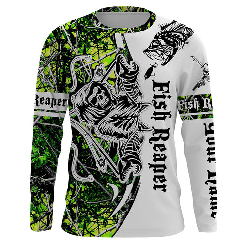 Fish Reaper Green Muddy Camo Custom Long Sleeve Fishing Shirts UV Protection, Personalized Fishing Gifts Ideas - Chipteeamz IPHW691