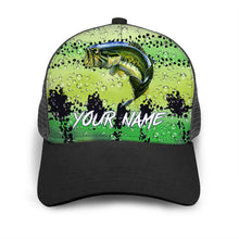 Load image into Gallery viewer, Largemouth Bass Custom Adjustable Mesh Unisex Fishing Baseball Trucker Angler hat cap - personalized Fishing gift for men and women - IPH1545