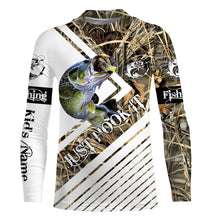 Load image into Gallery viewer, Largemouth Bass Fishing tattoo camo Just hook it Sun / UV protection quick dry customize name long sleeves shirts UPF 30+ personalized fishing apparel gift for adults and kids - IPH2032