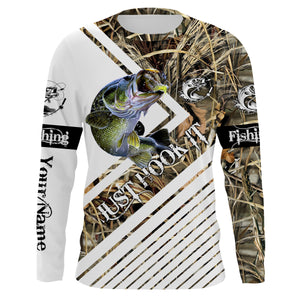 Largemouth Bass Fishing tattoo camo Just hook it Sun / UV protection quick dry customize name long sleeves shirts UPF 30+ personalized fishing apparel gift for adults and kids - IPH2032