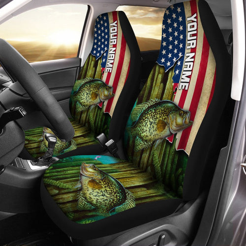 Crappie Fishing America Flag Custom 3D Printed Seat Cover, perfect car accessories Set of 2- personalized Patriot fishing gift for fishing lovers - IPH1587