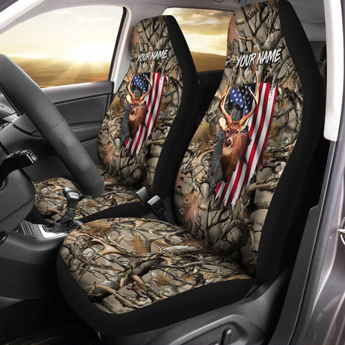 Deer hunting camo America Flag Customize 3D Printed Seat Covers, perfect car accessories - personalized Patriot gift for hunting lovers Set of 2 - IPH1632