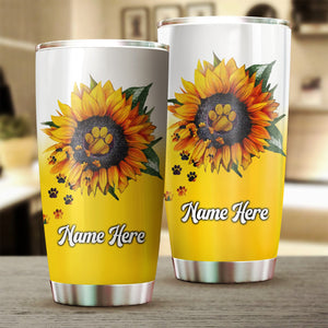 1pc Dog sunflower Customize name Stainless Steel Tumbler Cup - Personalized  gift for Dog lovers - IPH1770