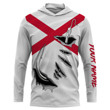 Load image into Gallery viewer, AL Fishing 3D Fish Hook Alabama Flag UV protection quick-dry Custom long sleeves shirts UPF 30+ personalized fishing apparel gift for Fishing lovers - IPH1914