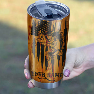 Bass Fishing American Flag 4th of July Custom name Stainless Steel Tumbler Cup Personalized Fishing gift - IPH1302