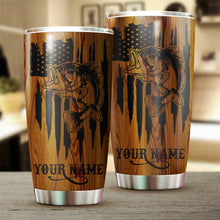Load image into Gallery viewer, Bass Fishing American Flag 4th of July Custom name Stainless Steel Tumbler Cup Personalized Fishing gift - IPH1302