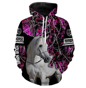 Custom White Arabian Horse pink camo 3D All over print T shirt, Long sleeve, Sweatshirt, Tank top, Zip up, hoodie shirts styles to choose - gift ideas for country girls - IPH2134