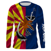 Load image into Gallery viewer, AZ Fishing 3D Fish Hook Arizona Flag UV protection quick dry customize name long sleeves shirts UPF 30+ personalized fishing apparel gift for Fishing lovers - IPHW473