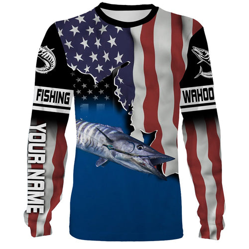 Wahoo Fishing 3D American Flag Patriot Customize name All over print shirts - personalized Patriotic 4th of July fishing shirt gift for men, women and kid - IPH1189