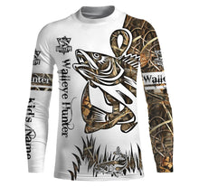 Load image into Gallery viewer, Walleye Hunter Camo Fishing tattoo UV protection quick dry customize name long sleeves shirts UPF 30+ personalized gift for Fishing lovers - IPH1806