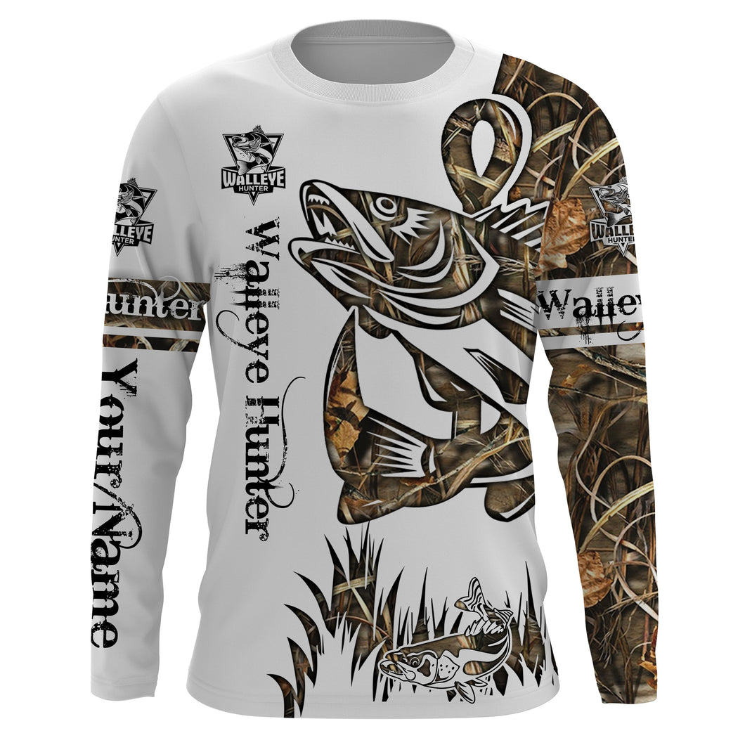 Walleye Hunter Camo Fishing tattoo UV protection quick dry customize name long sleeves shirts UPF 30+ personalized gift for Fishing lovers - IPH1806