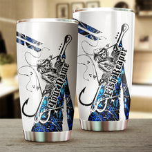 Load image into Gallery viewer, 1PC blue muddy camo Fishing Fish Reaper Fish hook Customize name Stainless steel beer, coffee Tumbler cup - Personalized Fishing gift for Fishing lovers - IPH1810