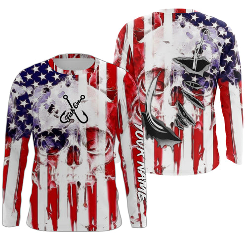 American Flag Skull Fish Hook Long Sleeve Fishing Shirts, Personalized Patriotic Fishing Gifts FEB21 - IPHW695