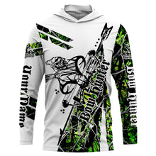 Load image into Gallery viewer, Green camo Bow hunter hunting reaper muddy camo UV protection quick dry customize name long sleeves shirts UPF 30+ personalized gift for hunting lovers - IPH1846