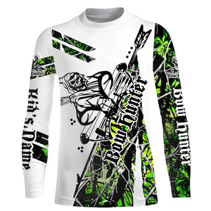 Green camo Bow hunter hunting reaper muddy camo UV protection quick dry customize name long sleeves shirts UPF 30+ personalized gift for hunting lovers - IPH1846