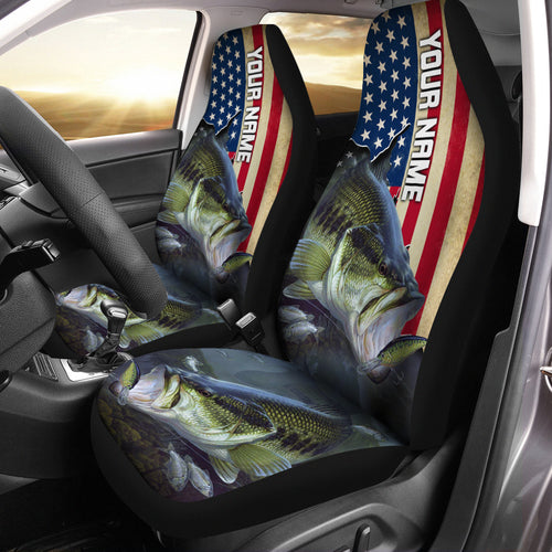 Largemouth Bass Fishing America Flag Custom 3D All over Seat Cover, perfect car accessories - personalized fishing gift for fishing lovers Set of 2 - IPH1568