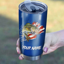 Load image into Gallery viewer, Bass Fishing American Flag Patriot 4th of July Custom name Stainless Steel Tumbler Cup Personalized Fishing gift  - IPH1304