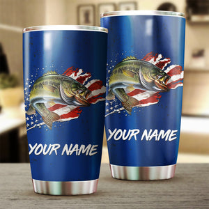 Bass Fishing American Flag Patriot 4th of July Custom name Stainless Steel Tumbler Cup Personalized Fishing gift  - IPH1304