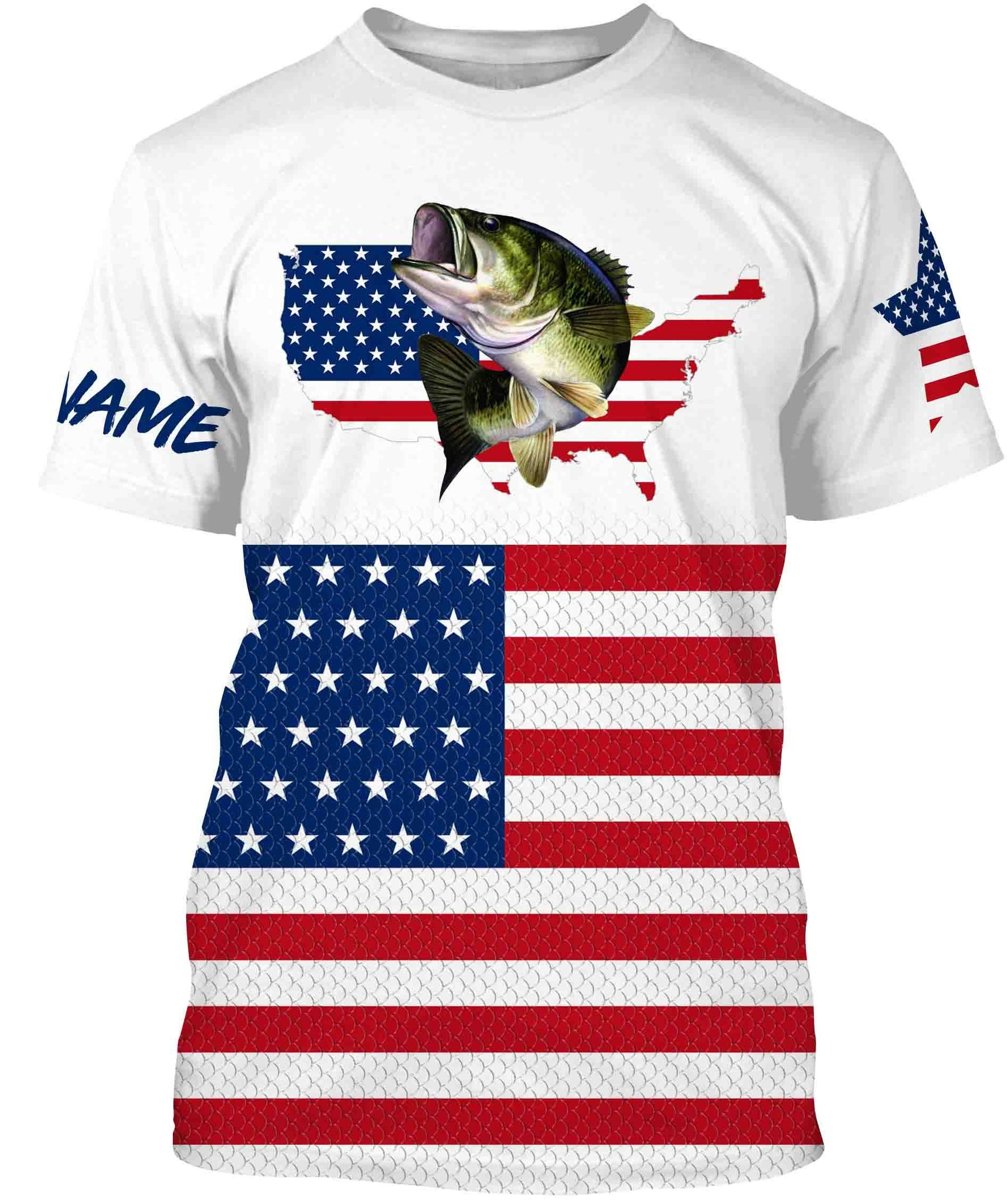 Download Bass Fishing American Flag Patriot Custom name All over ...